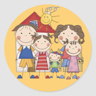 Dad, Mom, Big Sis, Middle Sis, Little Brother Round Sticker