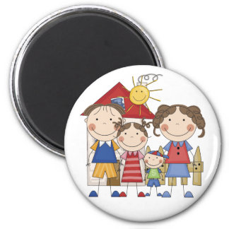 Dad, Mom, Big Sister, Little  Brother Family 6 Cm Round Magnet