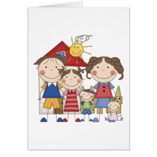 Dad, Mom, Big Sister, Middle Brother, Baby Sis Greeting Card