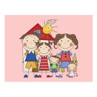 Dad, Mom, Big Sister, Middle Brother, Baby Sis Postcard