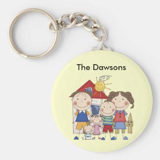 Dad, Mom, Boy, Girl, Baby Boy Family Basic Round Button Key Ring