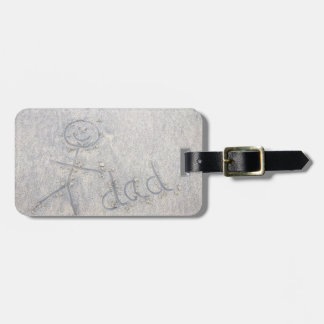 Dad on the beach seaside stick man on the sand luggage tag