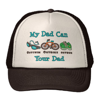 Dad Outswim Outbike Outrun Triathlon Cap