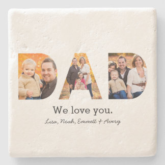 Dad Photo Collage Stone Beverage Coaster