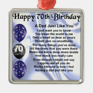 Dad Poem 70th Birthday Christmas Ornament