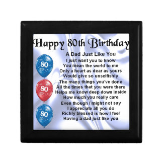 Dad Poem  80th Birthday Small Square Gift Box