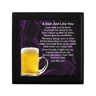 Dad Poem  -  Beer Design Small Square Gift Box