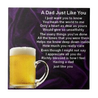 Dad Poem  -  Beer Design Small Square Tile