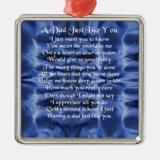 Dad Poem - Blue Satin design Christmas Ornament