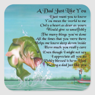 Dad Poem - Fishing Design Square Sticker