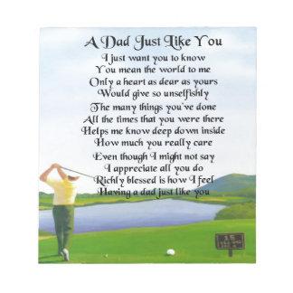 Dad Poem -  Golf Design Notepad