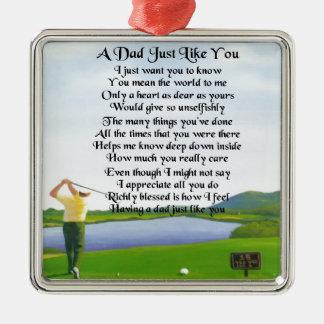 Dad Poem -  Golf Design Silver-Colored Square Decoration