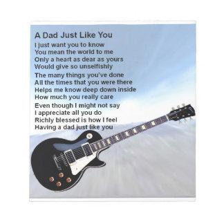 Dad Poem - Guitar Design Notepad