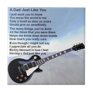 Dad Poem - Guitar Design Small Square Tile
