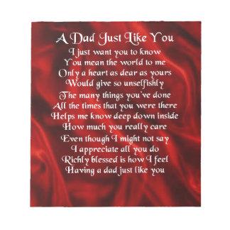 Dad Poem - Red Design Notepad