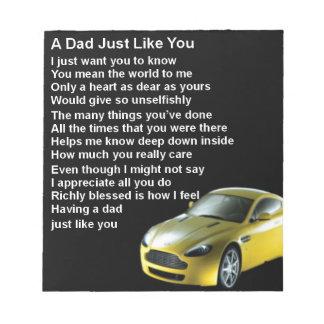 Dad Poem  -  Sports car Design Notepad