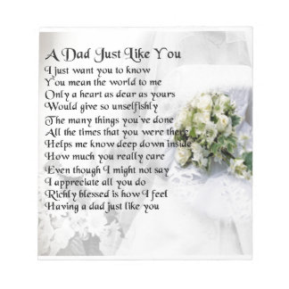 Dad poem  -  wedding design notepad