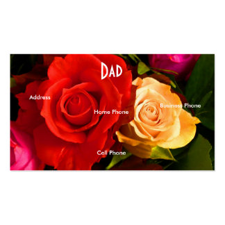 Dad Red Yellow Roses Profile Card Business Card