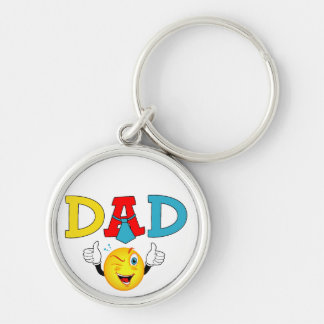 Dad thumbs up Silver-Colored round key ring