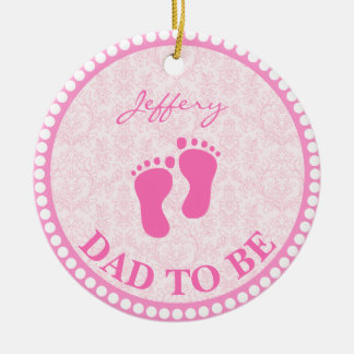 Dad To Be Girl Pink Personalized Christmas Ornament