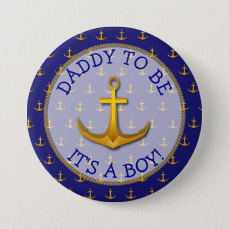 Dad To Be Nautical Anchor Baby Shower Button