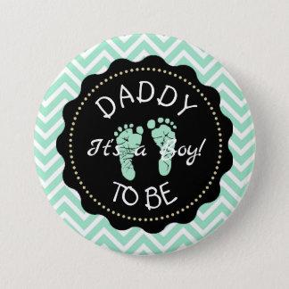 Dad to be Sage Green Chevron Baby Shower button