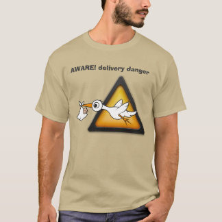 Dad to Be, stork with baby Aware cartoon. T-Shirt