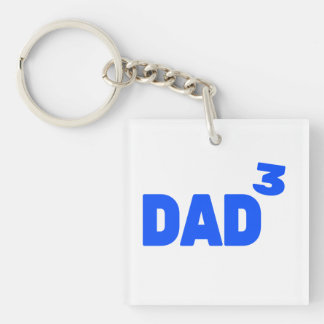 Dad To The Third Power Cubed Math Single-Sided Square Acrylic Key Ring