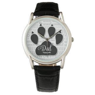 Dad Typography Black Dog Paw Print Watch