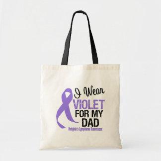 Dad Violet Ribbon Hodgkins Lymphoma Budget Tote Bag