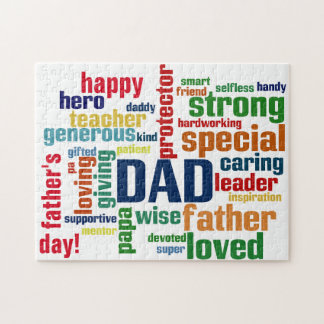 Dad Word Cloud Text Father's Day Typography Jigsaw Puzzle