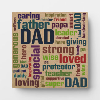 Dad Word Cloud Text Father's Day Typography Plaque