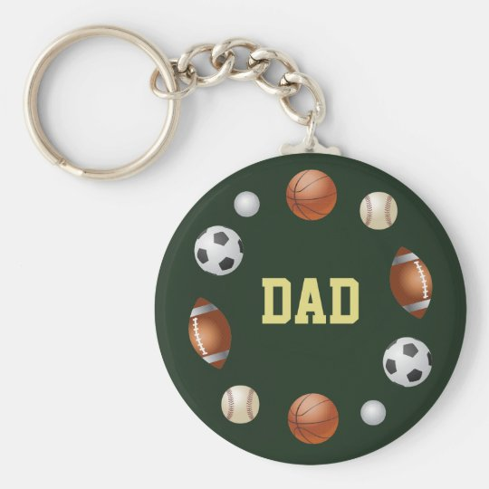 Dad World of Sports Name Keychain - Forest Green