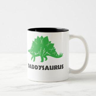 Dadasaurus STEGOSAURUS dinosaur, dad, dada, papa Two-Tone Coffee Mug