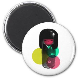 Dadawan Japan kokeshi doll 6 Cm Round Magnet