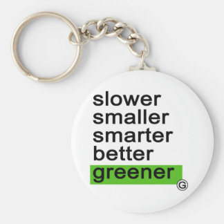 Dadawan Slower smaller smarter better greener Basic Round Button Key Ring