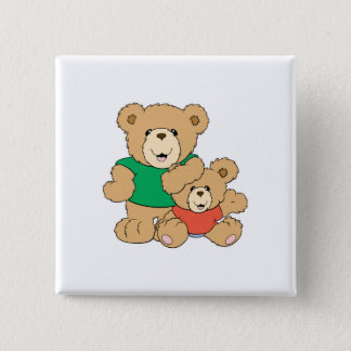Daddy and Baby Boy Bear 15 Cm Square Badge