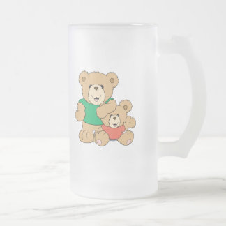 Daddy and Baby Boy Bear Frosted Glass Beer Mug