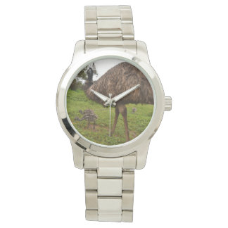 Daddy And Baby Emu Chicks Lge Unisex Silver Watch