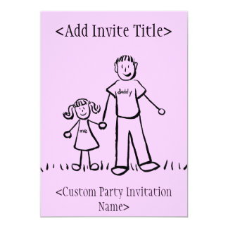 """Daddy and Me"" Little Girl Invitation or Invites"