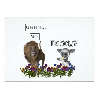 Daddy? asks a cute lamb to a big lion 13 cm x 18 cm invitation card