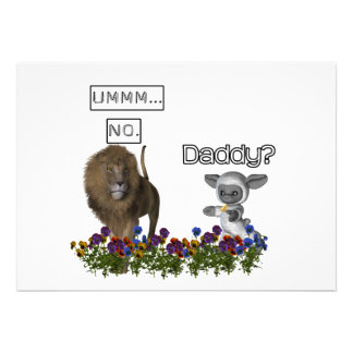 Daddy asks a cute lamb to a big lion custom invitations