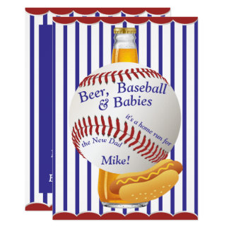 Daddy Baby Shower Beer Baseball and Babies Card