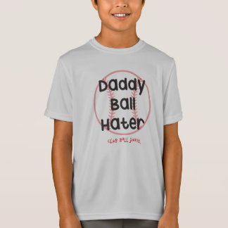 Daddy Ball Hater Grey Youth Performance Baseball T T-Shirt