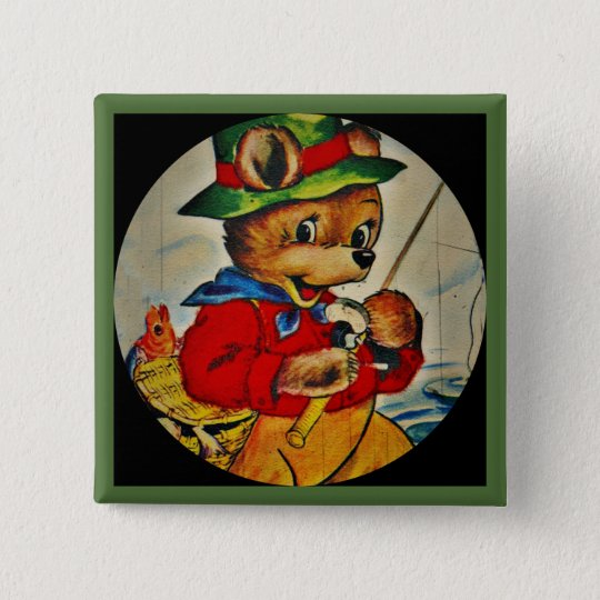 Daddy Bear Fisherman 15 Cm Square Badge
