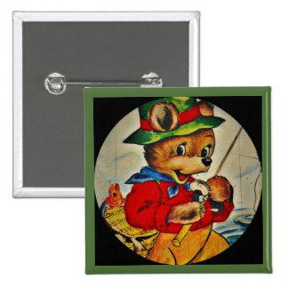 Daddy Bear Fisherman 15 Cm Square Badge
