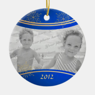 Daddy Christmas Photo Frame Double-Sided Ceramic Round Christmas Ornament