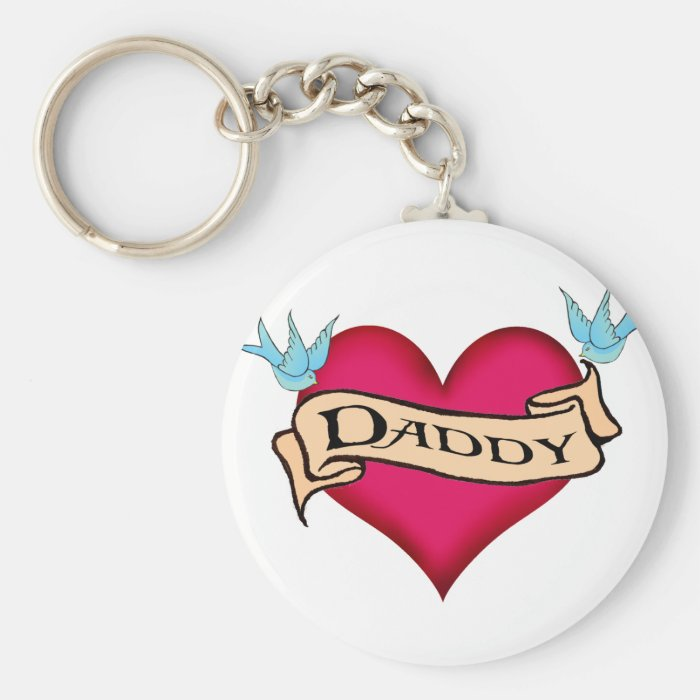 Daddy - Custom Heart Tattoo T-shirts & Gifts Basic Round Button Key Ring