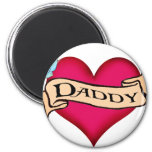 Daddy - Custom Heart Tattoo T-shirts & Gifts Fridge Magnet