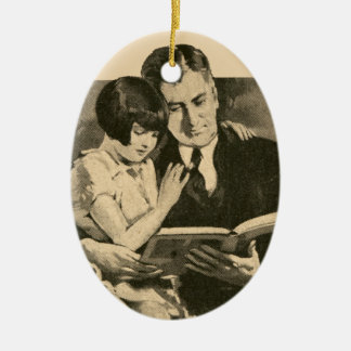 Daddy Girl Father Vintage 1920s Reading Daughter Christmas Ornament